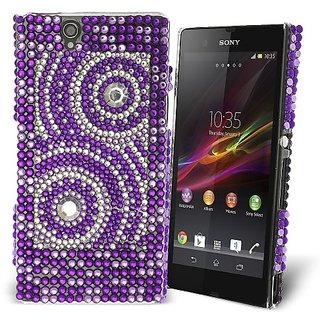 Celicious Purple Concentric Circles Diamante Case for Sony Xperia Z