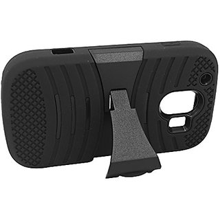 Eagle Cell Hybrid Armor Skin Protective Case Cover with Stand for ZTE Z830 Compel - Retail Packaging - Black