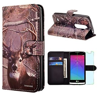 LG Leon / Tribute 2 / C40 / LS665 Case, INNOVAA Premium Leather Wallet Case with STAND Flip Cover W/ Free Screen Protect
