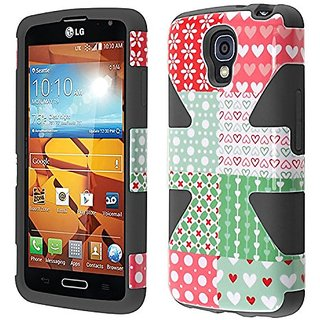 HR Wireless Dynamic Slim Hybrid Cover Case for LG Volt LS740/F90 - Retail Packaging - Chic Hearts/Black