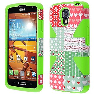HR Wireless Dynamic Slim Hybrid Cover Case for LG Volt LS740/F90 - Retail Packaging - Chic Hearts/Neon Green