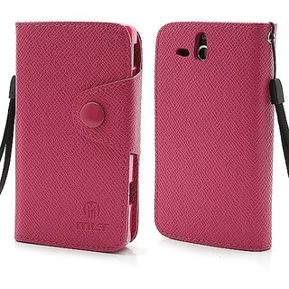 Smays M Folio Leather Wallet Case Cover for Sony Xperia U ST25a ST25i Kumquat (Rose)