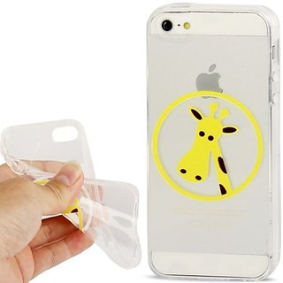 JUJEO Giraffe Pattern Transparent TPU Protection Case for iPhone 5/5S - Non-Retail Packaging - Clear