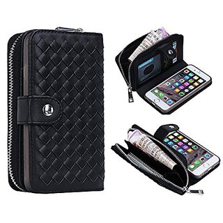 iPhone 6 6s Plus Wallet Case, Bellivin Woven Pattern Leather Wallet Case Zipper Style Purse for iPhone 6 plus / 6s Plus
