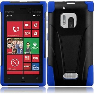 HR Wireless Nokia Lumia 928 T-Stand Cover - Retail Packaging - Black/Dark Blue