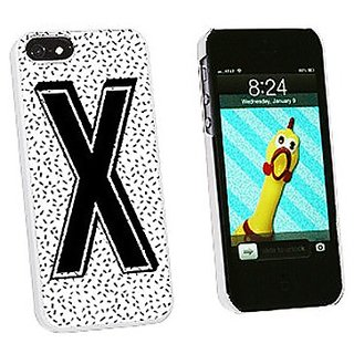 Graphics and More Letter X Initial Sprinkles Black White Snap-On Hard Protective Case for iPhone 5/5s - Non-Retail Packa