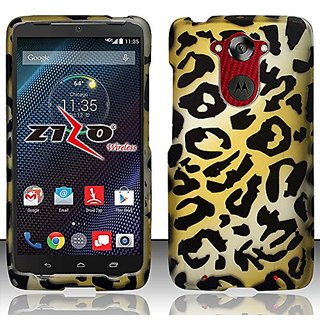 Zizo for Motorola Droid Turbo Rubberized Design Hard Snap-On Cover - Retail Packaging - Cheetah
