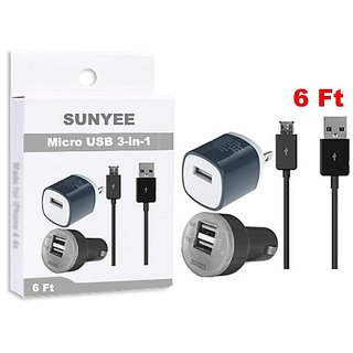 SUNYEE (TM) 3-in-1 Charging Set Inlcudes 2-Tone AC Travel Wall Charger + Dual USB Car Charger + 6 Feet. Micro USB to USB