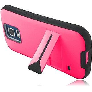 HR Wireless Samsung Galaxy S5 Premium Kickstand Cover Case, Hot Pink/Black