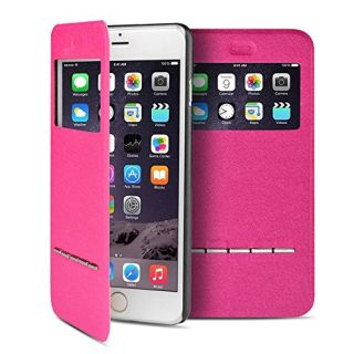 TNP iPhone 6s Case (Hot Pink) - Slim Fit Synthetic Leather Smart Window View Metal Front Flip Cover Stand Folio Case for
