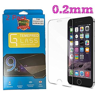 Hugoo 0.2mm Super 9H 2.5D Iphone 6 6S Screen Protector Tempered Glass Ballistic Glass Work with iPhone 6 6S and Protecti