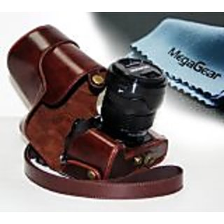 MegaGear Ever Ready Protective Fitted Leather Camera Case , Bag for For Olympus OM-D E-M1 with Lens (Dark Brown...