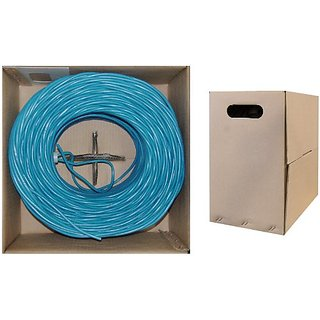 C&E 1000 feet CAT 6 23AWG 4PR Solid STP Ethernet Cable Blue