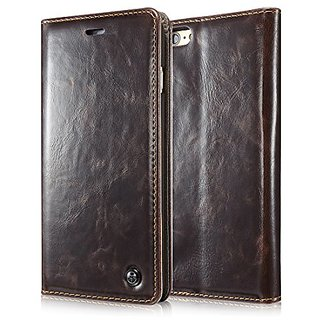 Iphone 6s Case, Luxury Wallet Flip Leather Case for Iphone 6s - Magnetic Cover (Brown)