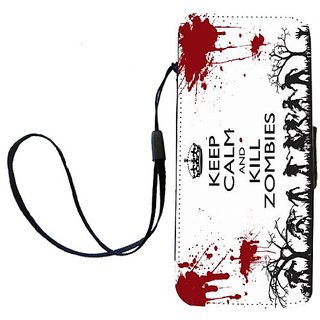 Rikki Knight Keep Calm and Kill zombies on Grunge White Flip Wallet iPhoneCase with Magnetic Flap for iPhone 5/5s - Keep