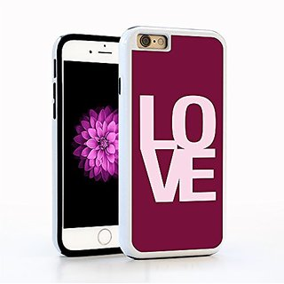 iPhone 6 Case, Love Typography Design, Clean Modern Lettering in Shades of Pink, Impact Resistant White PC with Black Ru