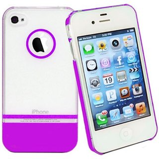 DECORO DDCIP4CPR Premium Duplex Case for iPhone 4/4S - 1 Pack - Retail Packaging - Clear/Purple