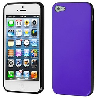 Asmyna IPHONE5CASKCA302 Slim and Durable Protective Cover for iPhone 5 - 1 Pack - Retail Packaging - Purple/Black...