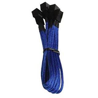 BitFenix Alchemy Multisleeve 3-Pin to 3x 3-Pin 60cm Y Cable Splitter - Blue Sleeve/Black Connector (BFA-MSC-3F33F60BK-RP
