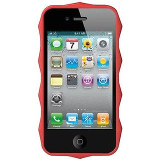 DECORO DHEXIP4RD Premium HEX Design TPU Case for iPhone 4/4S - 1 Pack - Retail Packaging - Red