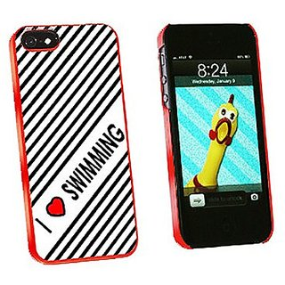 Graphics and More I Love Heart Swimming Snap-On Hard Protective Case for iPhone 5/5s - Non-Retail Packaging - Red