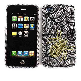 Cell Armor Snap-On Case for iPhone 4/4S - Retail Packaging - Full Diamond Crystal, Yellow Spider on Web