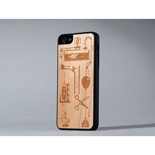 CARVED Wood Clear Case for iPhone 5C - Carrying Case - Retail Packaging - Rube Goldberg Engraved Cherry - iPhone 5