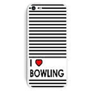 Graphics and More I Love Heart Bowling Protective Skin Sticker Case for Apple iPhone 5C - Set of 2 - Non-Retail Packagin