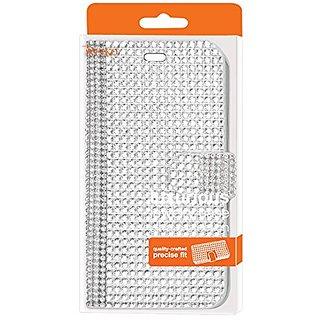 Reiko Diamond Flip Wallet Case for HTC Desire 626/626s - Retail Packaging - Silver