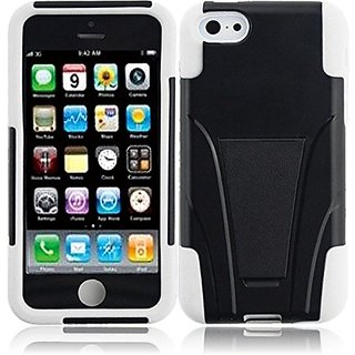 HR Wireless T-Stand Cover for iPhone 5C - Retail Packaging - Black/White