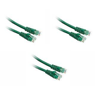 C&E Cat5e 75-Foot Ethernet Patch Cable, Snagless/Molded Boot, 3-Pack, Green (CNE50109)