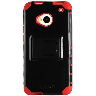 Reiko Slim Hybrid Case with Kickstand for HTC One M7 - Non-Retail Packaging - Red/Black