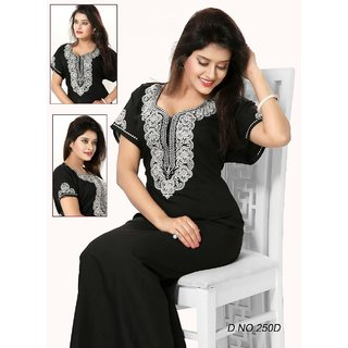 1c530c89d5 Buy Daily Sleep Wear 1p Night Gown in Black Daily Maxi Womens Night Dress  250 Cotton Blend Embroidered Lounge wear Online   ₹1290 from ShopClues