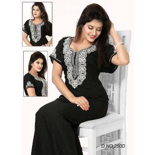 Daily Sleep Wear 1p Night Gown in Black Daily Maxi Womens Night Dress 250  Cotton Blend fb937debb