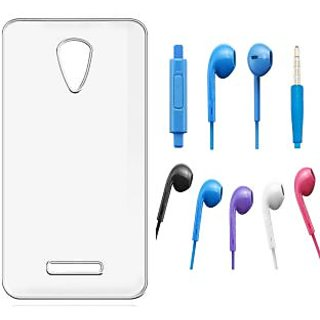 Soft Transparent Back Cover and Noise Cancellation Earphones with Mic for Micromax Canvas Doodle 4 Q391