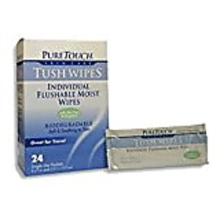 Tush Wipes for Adults 24 Individual Flushable Moist Wipes / 2 boxes - 48 Single-Use-Packets