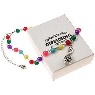 Girls and Teen Aromatherapy Lava Stone Colorful Beaded Pendant Essential Oil Diffuser Necklace - 14
