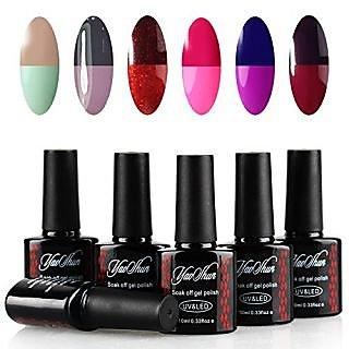 Yaoshun Soak Off Gel Nail Polish Temperature Color Chaning Series 6Pcs Sets 10ml Mixed Colors #001