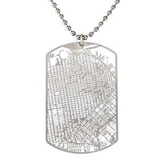 Aminimal San Francisco Dog Tag Urban Gridded Jewelry