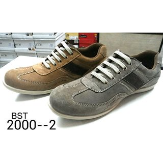 Trax Men's Grey & Brown Casual Shoes