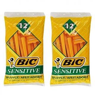 (Pack of 2) Bic Single Blade Sensitive Skin Shavers - 12 in Pack [Total 24]