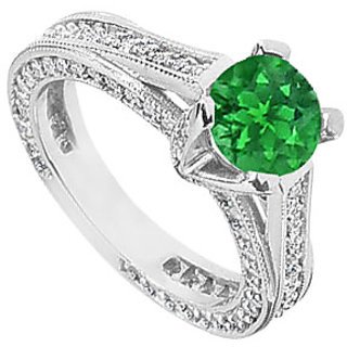 Emerald And Cubic Zirconia Filigree Engagement Rings In 14Kt White Gold