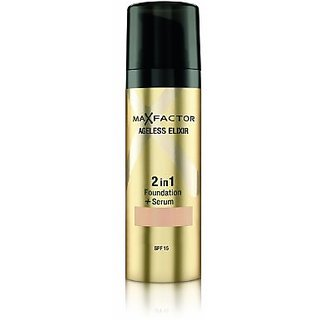 Max Factor Ageless Elixir 2 in 1 Foundation Plus Serum SPF 15, No.60 Sand, 1 Ounce