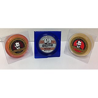 Colonel Conk All Natural Shave SANTA FE = traditional Amber and Bay Rum Soap 2.25 Ounces (Variety 3 Pack)