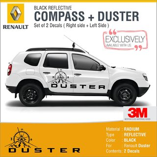 Duster Compass Decals for Both side Black Reflective
