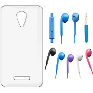 Soft Transparent Back Cover and Noise Cancellation Earphones with Mic for Micromax Bolt Q336