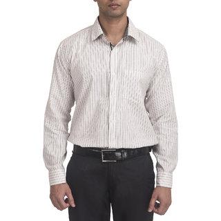 Trensup Men's Beige with Checkerbox Border Formal Shirt