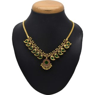 Kollam Supreme Gold Plated Traditional Indian Palakka Necklace