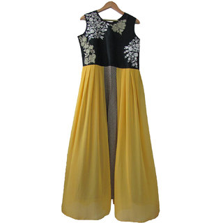 Mid Night Yellow Black Gown