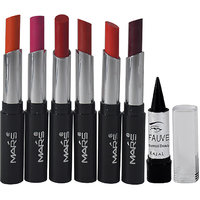 MARS Lip Rouge Playmate Series Sweet Lipstick Pack Of 6 Free Kajal-PGGP-A4
